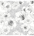 Black and white seamless floral background vector image vector image