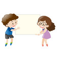 boy and girl holding blank white board vector image vector image