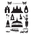 cambodia landmarks and culture object set vector image vector image