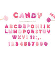 Candy glossy font design colorful pink abc