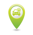 car with rudder icon map pointer green vector image vector image