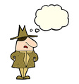 cartoon man in coat and hat with thought bubble vector image vector image