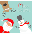 Cartoon Snowman Santa Claus and deer Blue vector image