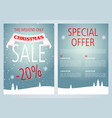 christmas sale flyer design with light blue color vector image vector image