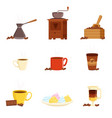 coffee set various kitchen utensils for making vector image