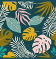 collage contemporary floral hawaiian pattern vector image vector image