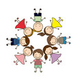 colorful circular shape with group cartoon vector image vector image