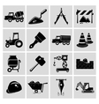 Construction icons set black vector image
