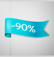 cyan ribbon with text ninety percent discount vector image