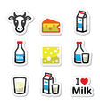 Dairy products - milk cheese icons set vector image vector image