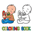 funny small baby sitting with dummy coloring book