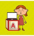 girl laptop cube icon vector image