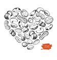 hand drawn nuts in heart shape vector image
