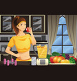 healthy woman making fruit juice vector image