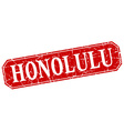 Honolulu red square grunge retro style sign vector image vector image