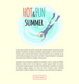 hot and fun summer diver in flippers and mask vector image