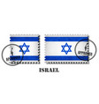 israel flag pattern postage stamp with grunge old vector image