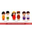 malaysia vietnam cambodia men and women in vector image vector image
