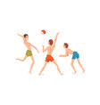men dressed in shorts playing beach volleyball vector image vector image