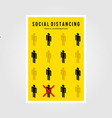 minimalist social distancing flat icon poster vector image