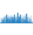 outline skyline with city skyscrapers vector image vector image