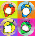 pop art strawberry with speech bubbles vector image vector image