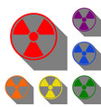 radiation round sign set of red orange yellow vector image