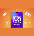 realistic detailed 3d mobile phone big sale banner vector image