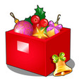 red box with christmas decorations and baubles vector image vector image