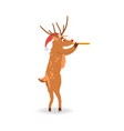 reindeer with red nose in vector image