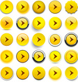 Round yellow arrow icons vector image vector image