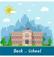 School building and bus vector image vector image