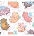 seamless pattern with mini piggy isolated on white vector image