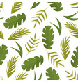 seamless pattern with tropical leaves on white vector image vector image