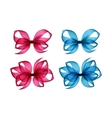 Set of Colored Bright Pink Light Blue Gift Bows vector image vector image