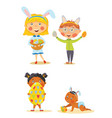 set of kids selebrating easter vector image vector image