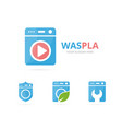 set of laundry logo combination washing machine vector image vector image