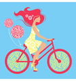 Silhouette of beautiful girl on bicycle vector image vector image