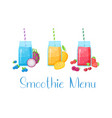 smoothie fruit cocktail flat set vector image vector image