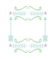 square frame with hearts decorative boho style vector image