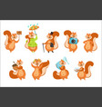squirrel different activities set of girly vector image vector image