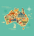 stylized map of australia with the symbols of vector image vector image