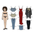 the brunette paper doll vector image vector image