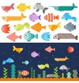 Underwater fishes set vector image vector image