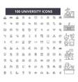 university editable line icons 100 set vector image vector image