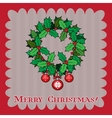 Vintage Christmas card with holly berry vector image vector image
