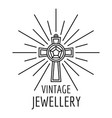 vintage jewellery logo outline style vector image vector image