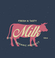 vintage logo for dairy and meat business shop vector image
