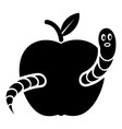 worm apple icon simple black style vector image vector image