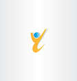 yellow man letter y winner icon vector image